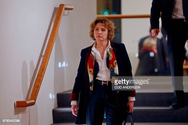 Secretary General of the Free Democratic Party Nicola Beer is seen during a break in exploratory talks with members of potential coalition parties to...