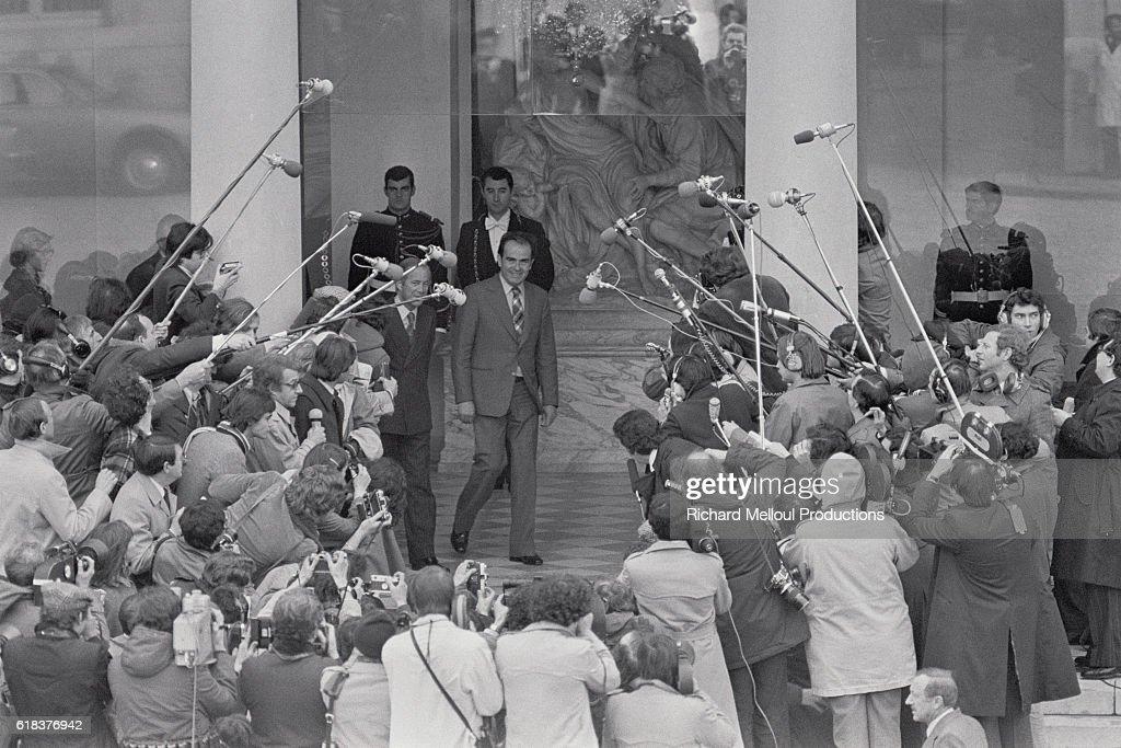 Georges Marchais at Elysee Palace : Photo d'actualité