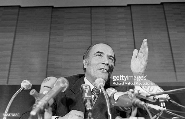 Secretary General of the French Socialist Party Francois Mitterrand gestures as he speaks during a press conference