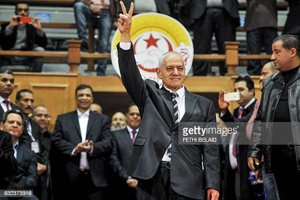 Secretary general of the General Union of Tunisian Workers Houcine Abbassi waves to crowds during the opening of the union's 23rd congress in the...