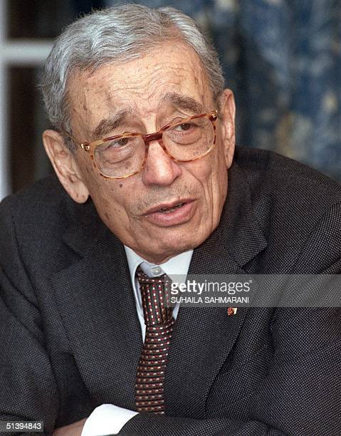 Secretary General of the International Organization of FrenchSpeaking Communities Boutros BoutrosGhali looks on during an interview with AFP 24...