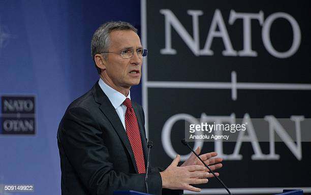 Secretary General of the North Atlantic Treaty Organization Jens Stoltenberg gives a speech on the agenda of the NATO Defence Ministers Meeting which...