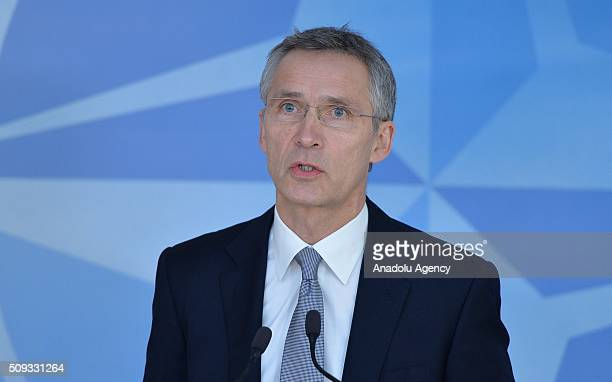 Secretary General of the North Atlantic Treaty Organization Jens Stoltenberg gives a speech prior to NATO Defence Ministers Meeting which will be...