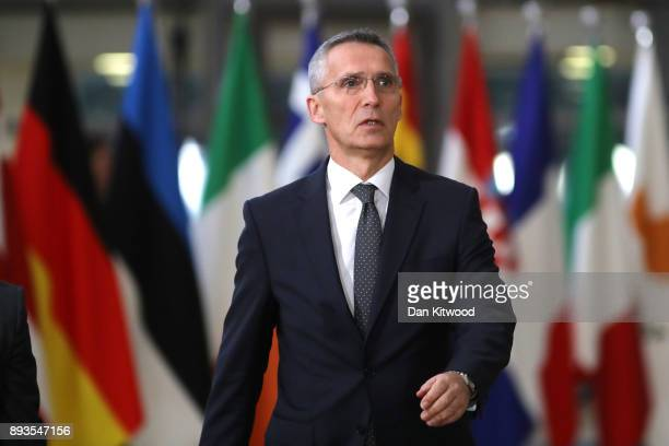Secretary General of the North Atlantic Treaty Organization Jens Stoltenberg arrives for the European Union leaders summit at the European Council on...