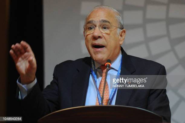 Secretary general of the Organization for Economic Cooperation and Development Angel Gurria speaks during a trade conference introduction at the...