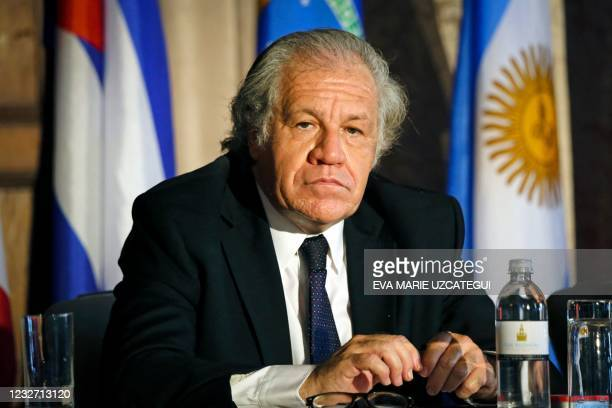 """Secretary General of the Organization of American States Luis Almagro listens during the InterAmerican Institute for Democracy Forum """"Defense of..."""