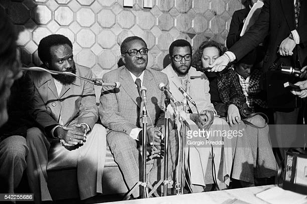 Secretary General of the Popular Movement for the Liberation of Angola Agostinho Neto gives a press conference at the Lisbon airport