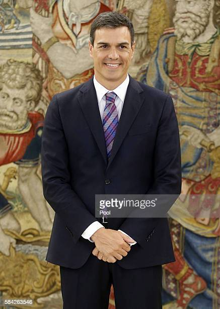 Secretary General of the PSOE Pedro Sanchez is received by King Felipe VI of Spain at the Zarzuela Palace on July 28 2016 in Madrid Spain