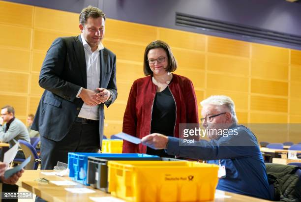 Secretary General of the Social Democratic Party Lars Klingbeil and Bundestag faction leader of the German Social Democrats Andrea Nahles attend the...