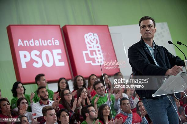 Secretary General of the Spanish Socialist Workers' Party Pedro Sanchez speaks during a campaign meeting for the upcoming Andalusia regional...