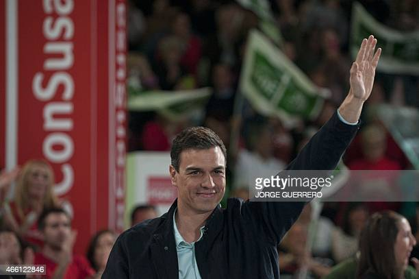 Secretary General of the Spanish Socialist Workers' Party Pedro Sanchez waves during a campaign meeting for the upcoming Andalusia regional elections...
