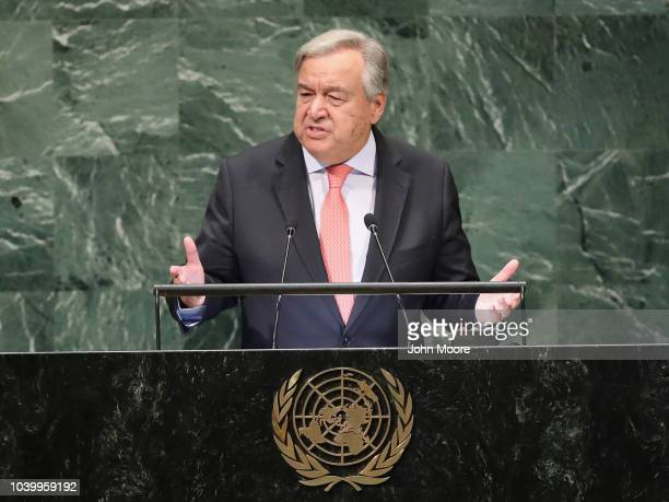 Secretary General of the United Nations Antonio Guterres addresses the 73rd UN General Assembly meeting on September 25 2018 in New York City World...