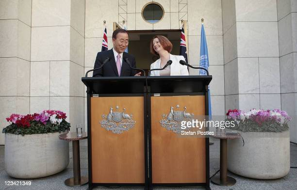 Secretary General of the United Nations Ban KiMoon and Australian Prime Minister Julia Gillard speak at a joint press conference at Parliament House...