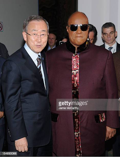 Secretary General of the United Nations Ban Ki-moon and Stevie Wonder attend the 2012 United Nations Day Concert at the United Nations on October 24,...