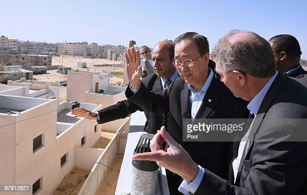 Secretary General of the United Nations Ban Kimoon is shown around a UN funded housing project for displaced Palestinians on March 21 2010 in the...