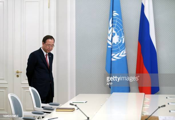 Secretary General of the United Nations Ban Ki-moon stands along awaiting to meet Russian President at Bocharov Ruchei state residence in Blach Sea...