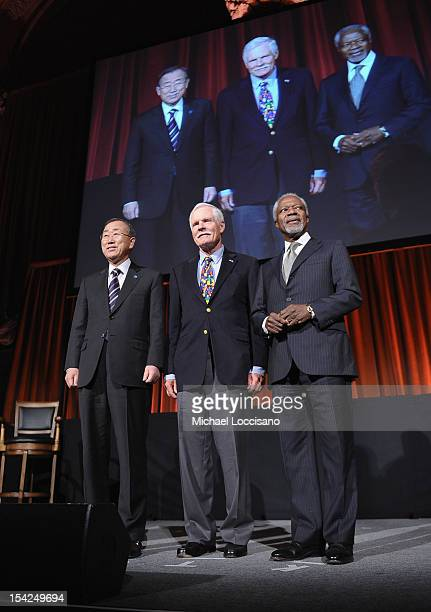 Secretary General of the United Nations Ban Kimoon Ted Turner and former Secretary General of the United Nations Kofi Annan attend the 2012 Global...