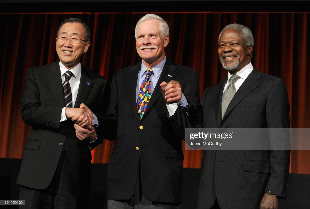 Secretary General of the United Nations Ban Ki-moon, Ted Turner, and former Secretary General of the United Nations Kofi Annan attend the 2012 Global Leadership Awards Dinner at Cipriani 42nd Street on October 16, 2012 in New York City.