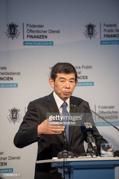 Secretary General of the World Customs Organization Kunio Mikuriya speaks pictured during a press conference of the Belgian customs authorities on...