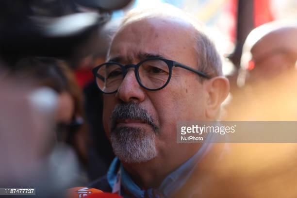 Secretary General of UIL Carmelo Barbagallo during a protest of exIlva workers from Taranto protest in Piazza Santi Apostoli in Rome Italy on 10...
