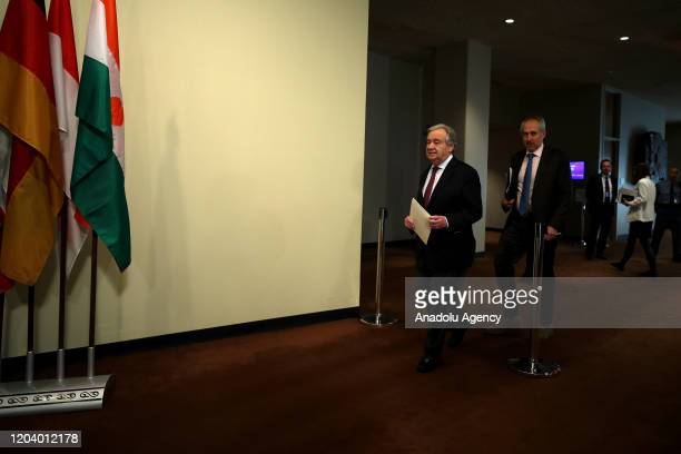Secretary General of United Nations Antonio Guterres holds a press conference on the situation in Syria and about the coronavirus situation that...