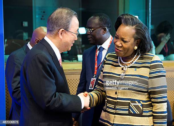 Secretary General of United Nations Ban-Ki Moon President of the Central African Republic Catherine Samba-Panza shake hands during the EU-Africa...