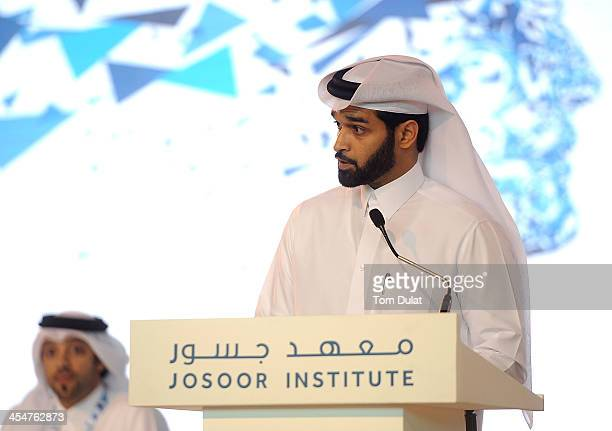 Secretary General Qatar 2022 Supreme Committee Hassan Abdulla Al Thawadi speaks at the launch of the Josoor Institute a centre of excellence designed...