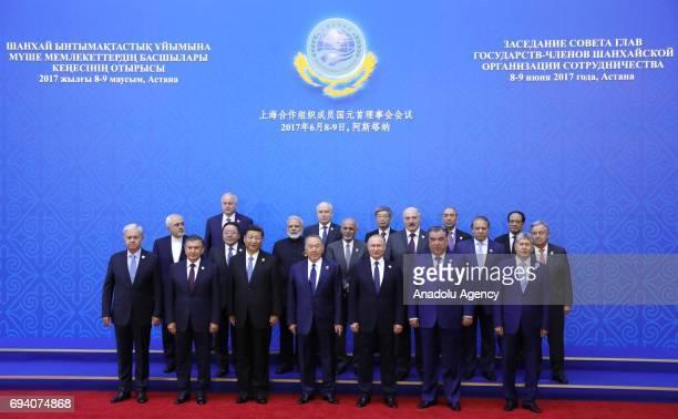 SCO Secretary General Rashid Alimov Uzbekistan's President Shavkat Mirziyoyev China's President Xi Jinping Kazakhstan's President Nursultan...