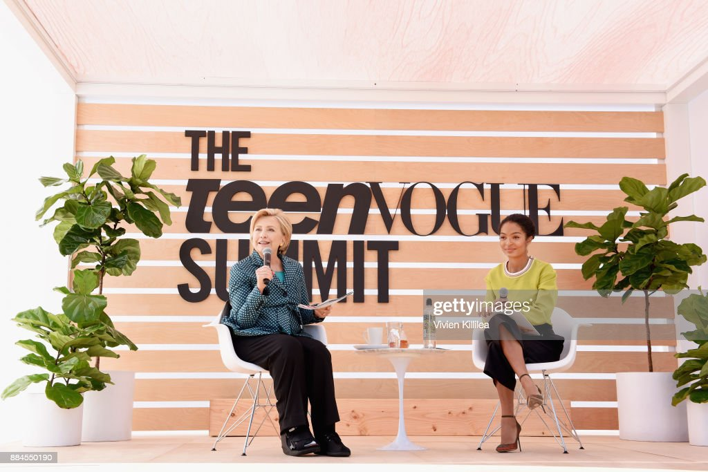 Secretary Hillary Clinton (L) and Yara Shahidi speak onstage during The Teen Vogue Summit