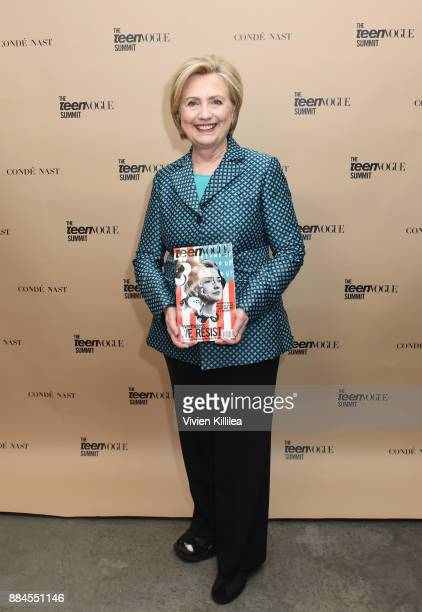 Secretary Hillary Clinton attends The Teen Vogue Summit LA Keynote Conversation with Hillary Rodham Clinton and actress Yara Shahidi on December 2...