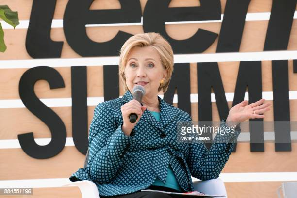 Secretary Hillary Clinton speaks onstage during The Teen Vogue Summit LA Keynote Conversation with Hillary Rodham Clinton and actress Yara Shahidi on...