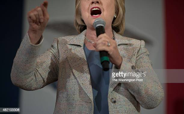 Secretary Hillary Clinton speaks to voters on the campus of Iowa State University in Ames Iowa on Sunday July 26 2015