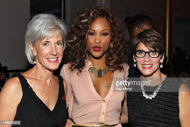 HHS Secretary Kathleen Sebelius Eve and Nancy Mahon attend Together To End AIDS An Evening To Benefit amfAR and GBCHealth at John F Kennedy Center...