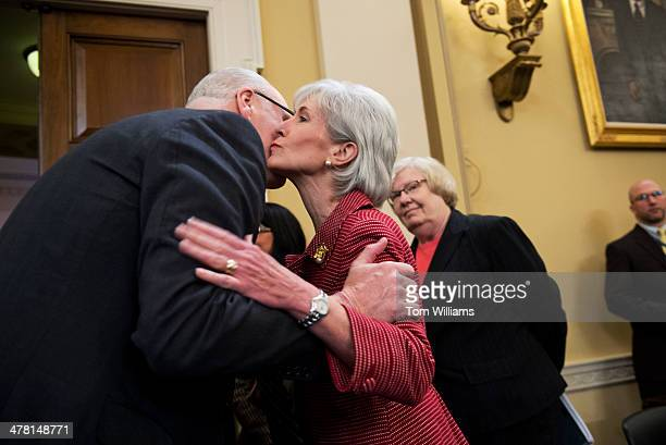 Secretary Kathleen Sebelius greets Rep Joe Crowley DNY before a House Ways and Means Committee hearing Longworth Building titled The President's...