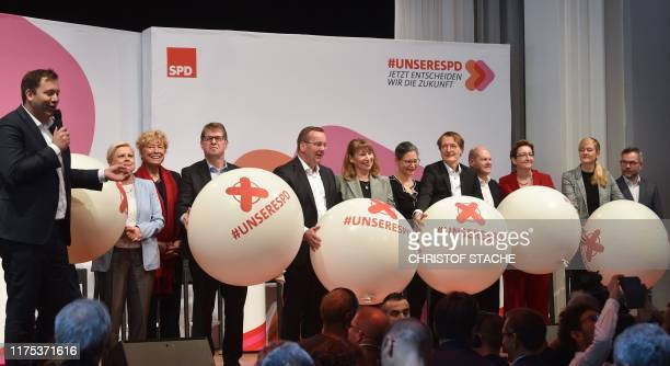 Secretary Lars Klingbeil, candidates as chairpersons for the Social Democratic Party SPD, Hilde Mattheis, Gesine Schwan, Ralf Stegner, Boris...