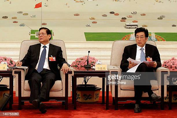 CPC secretary Liu Qi and Beijing mayor Guo Jinlong attend a meeting in the Great Hall of the People on March 6 2012 in Beijing China Known as 'liang...