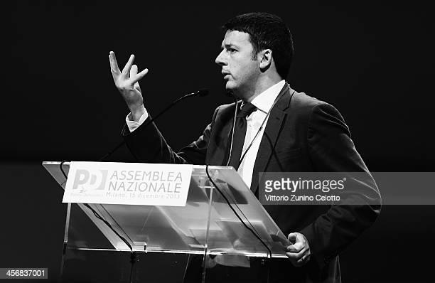 PD Secretary Matteo Renzi speaks during the Italian Social Democratic Party PD National Assembly on December 15 2013 in Milan Italy Matteo Renzi won...