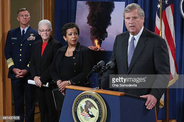 S Secretary of Agriculture Tom Vilsack is joined by Coast Guard Commandant Admiral Paul Zukunft EPA Administrator Gina McCarthy Attorney General...