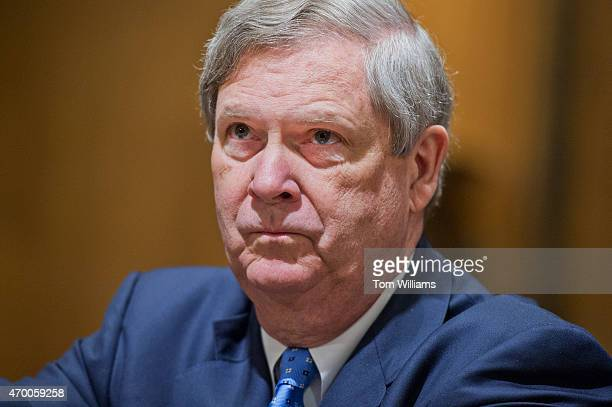 Secretary of Agriculture Tom Vilsack prepares to testify before a Senate Finance Committee hearing in Dirksen Building titled Congress and US Tariff...