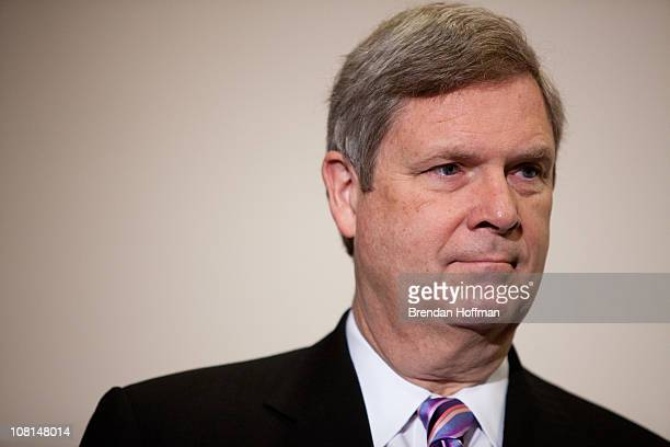 Secretary of Agriculture Tom Vilsack speaks to reporters before a House Democratic caucus meeting on January 19 2011 in Washington DC The House is...