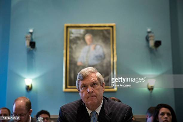 S Secretary of Agriculture Tom Vilsack testifies during a House Committee on Agriculture hearing regarding the state of the rural economy on Capitol...