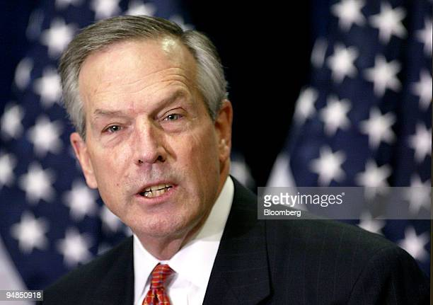 S Secretary of Commerce Donald Evans speaks to the National Federation of Independent Business in Washington DC on April 7 2004 In response to an...