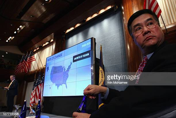 S Secretary of Commerce Gary Locke listens as Robert Groves Director of the US Census Bureau discusses the first results of the 2010 Census during a...