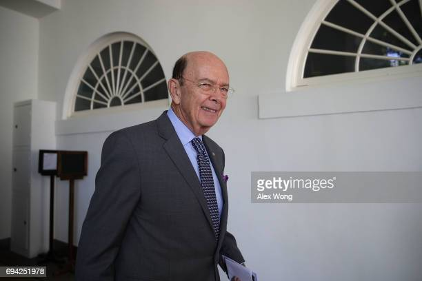 S Secretary of Commerce Wilbur Ross arrives prior to President Donald Trump and Romanian President Klaus Iohannis' joint news conference in the Rose...