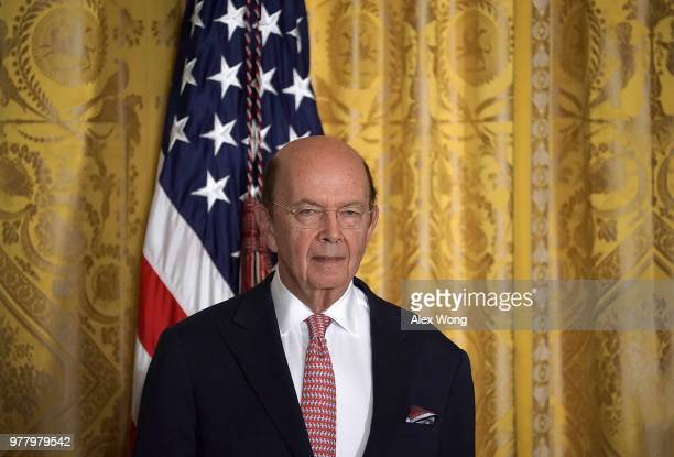 S Secretary of Commerce Wilbur Ross attends a meeting of the National Space Council at the East Room of the White House June 18 2018 in Washington DC...