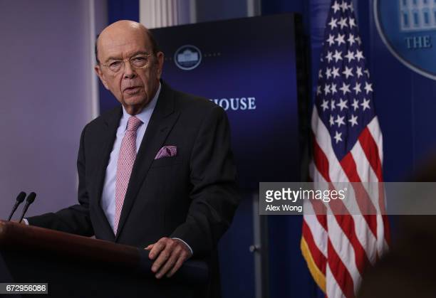 S Secretary of Commerce Wilbur Ross discusses the new US tariff on Canadian softwood lumber during the White House daily briefing at the James Brady...