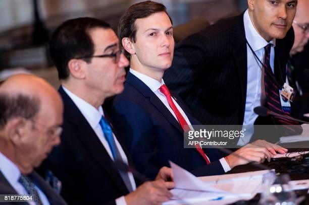 US Secretary of Commerce Wilbur Ross US Secretary of the Treasury Steven Mnuchin Senior Advisor Jared Kushner and Chris Adams US Treasury take their...