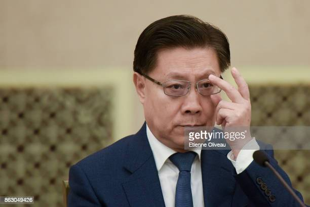 Secretary of CPC Sichuan Provincial Committee Wang Dongming attends a meeting of the 19th Communist Party Congress at the Great Hall of the People on...