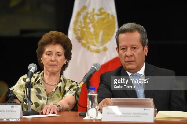 Secretary of Culture María Cristina García Cepeda and Deputy of the LX Legislature of the Mexican Congress Eduardo Sanchez Hernandez look on during...