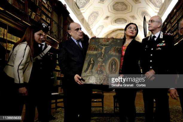 Secretary of Culture of the United Mexican States Dr Alejandra Frausto Guerrero Minister Alberto Bonisoli and Commander Giovanni Nistri during the...